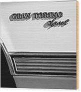 1972 Ford Gran Torino Sport Emblem Wood Print