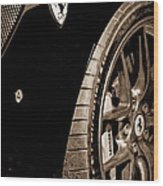 2011 Ferrari 599 Gto Emblem - Wheel Wood Print
