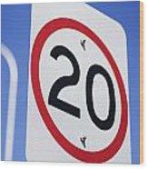 20km Road Sign Wood Print