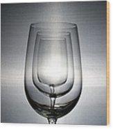 3 Wine Glasses Wood Print