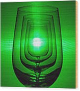 4 Wine Glasses Wood Print
