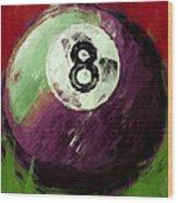 8 Ball Billiards Abstract Wood Print