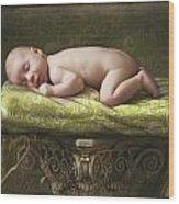 A Baby Asleep On A Pillar Wood Print