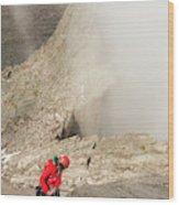 A Climber Descending Longs Peak Wood Print