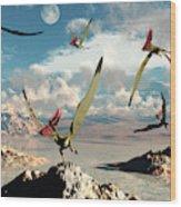 A Flock Of Thalassodromeus Pterosaurs Wood Print