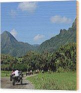 A Group Of Atv Quad Riders Take Wood Print