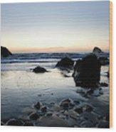 A Landscape Of Rocks On The Coast Wood Print