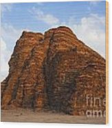 A Landscape Of Rocky Outcrops In The Desert Of Wadi Rum In Jordan Wood Print