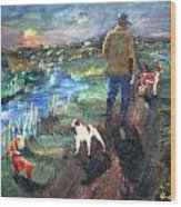 A Man And His Dogs Wood Print