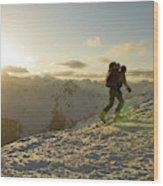 A Man Backcountry Skiing At Sunset Wood Print