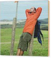 A Man Enjoying A Moment Of Rest Wood Print