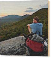 A Man Hikes Along The Appalachian Trail Wood Print