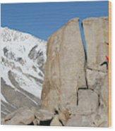 A Man Sport Climbs In Bishop Wood Print