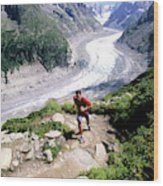 A Man Trail Runs In Chamonix, France Wood Print