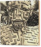 1 A Maze Ing Man Sepia Wood Print