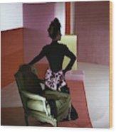 A Model Wearing A Schiaparelli Dress Wood Print