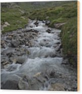 A Mountain Stream In Vanoise National Wood Print