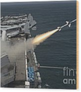 A Rim-7 Sea Sparrow Missile Is Launched Wood Print