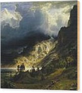 A Storm In The Rocky Mountains Wood Print
