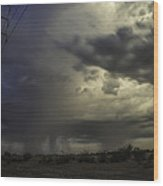 A Stormy Sunset Over Phoenix Az.  Wood Print