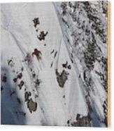 A Telemark Skier In A Narrow Chute Wood Print