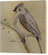 A Tufted Titmouse Wood Print
