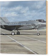 A U.s. Air Force F-35a Taxiing At Eglin Wood Print