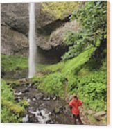 A Woman Admires Latourel Falls On June Wood Print