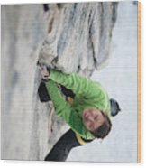 A Woman Climbs The Line 5.9 At Lovers Wood Print