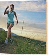 A Woman Trail Running Near Boulder, Co Wood Print