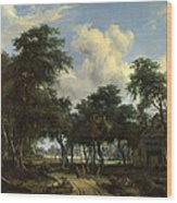 A Woody Landscape With A Cottage Wood Print