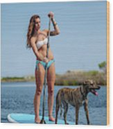 A Young Woman And Her Dog Sup Wood Print