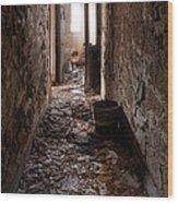 Abandoned Building - Hallway To Ladies Room Wood Print