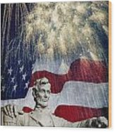 Abraham Lincoln Fireworks Wood Print