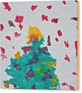 Abstract Kid's Painting Of Christmas Tree With Gifts Wood Print