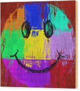 Abstract Smiley Face Wood Print