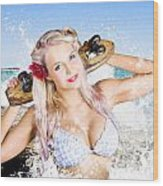 Active Sexy Summer Beach Babe With Skateboard Wood Print