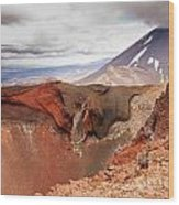 Active Volcanoe Cone Of Mt Ngauruhoe New Zealand Wood Print