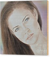 Actress And Model Susan Ward Blue Eyed Beauty With A Mole Wood Print