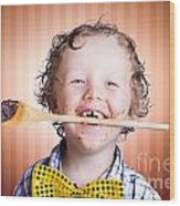 Adorable Little Boy Cooking Chocolate Easter Cake Wood Print