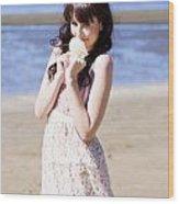 Adorable Seaside Girl Wood Print