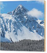 Aerial Of Mount Sneffels With Snow Wood Print
