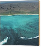 Aerial Of Ningaloo Reef And Cape Range Wood Print