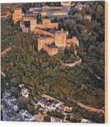 Aerial Photo  Alhambra And Albaycin In Granada Wood Print