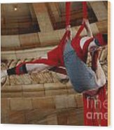 Aerial Ribbon Performer At Pennsylvanian Grand Rotunda Wood Print
