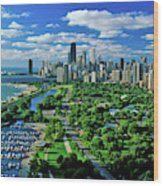 Aerial View Of Chicago, Illinois Wood Print