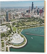 Aerial View Of The Downtown In Chicago Wood Print