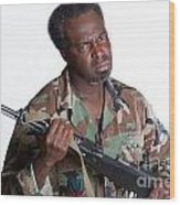 African American Man With Gun Wood Print