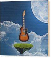 Air Guitar Wood Print