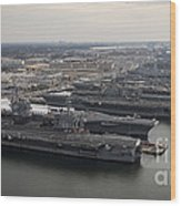 Aircraft Carriers In Port At Naval Wood Print